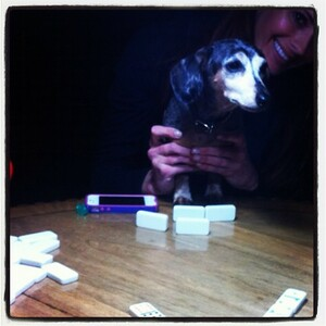 Miss Molly is got her Game Face on! Dominos at the Mansion w/ @hughhefner & the ladies!