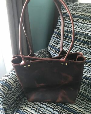 Cordovan leather tote bag! Made for my mother-in-law.