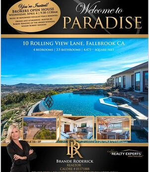 If you're a broker/agent or buyer and would like to come out to the brokers open tomorrow 9:30-1130am Please message me for gate info. Renowned vocalist Vince Mendoza will be performing and  Award winning winery owner Robert Renzoni will be on site with 3 wines to taste and serving their famous bruschetta. Hope to see you tomorrow #robertrenzoniwinery #dreamhome #majesticviews